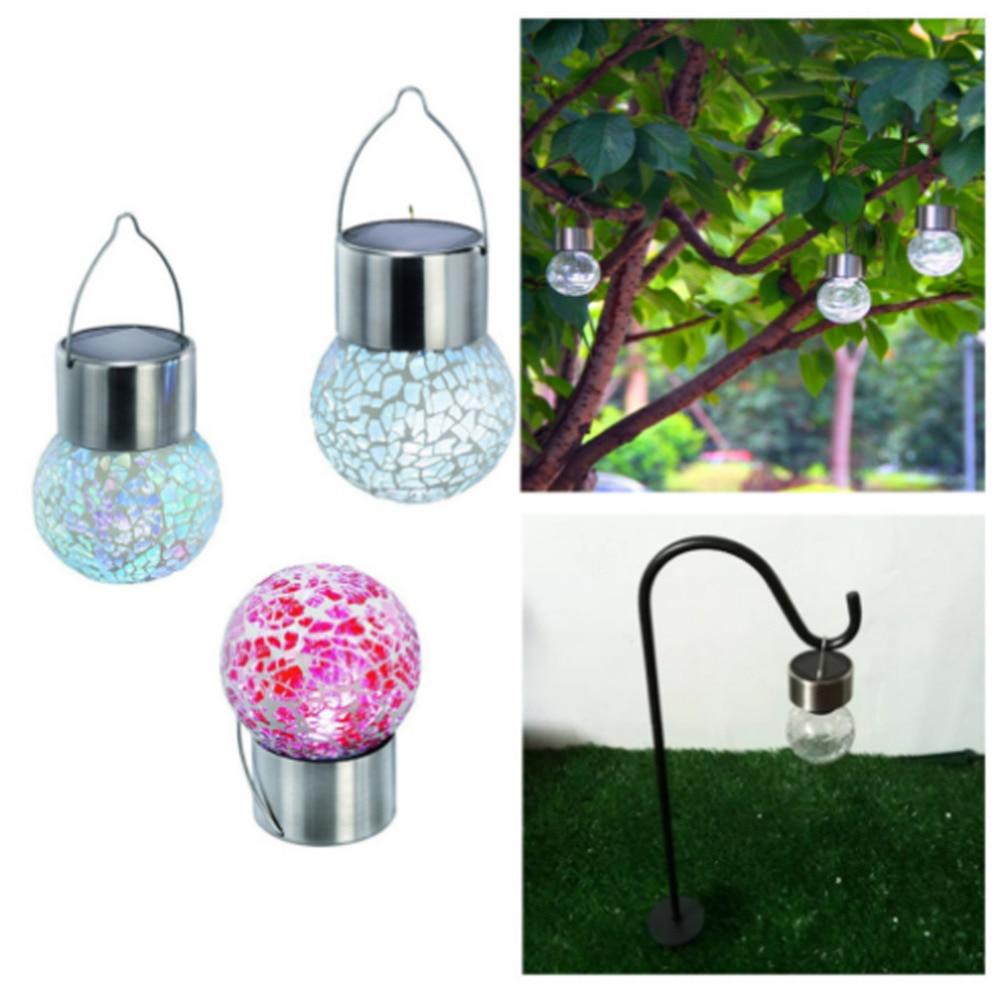 2018 LED Solar Garden Light Lawn lamps Crackle Glass Bulb Waterproof ...