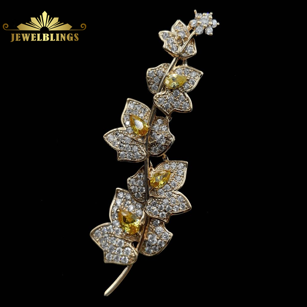 Charming Elegant Vine Plant Branch Yellow Flowers Brooch Gold Tone Micro Pave And Pear Shaped CZ Floral Vane Pin Bridal Jewelry