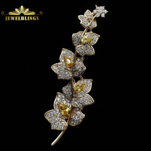 Charming Elegant Vine Plant Branch Yellow Flowers Brooch Gold Tone Micro Pave and Pear Shaped CZ Floral Vane Pin Bridal Jewelry(China)