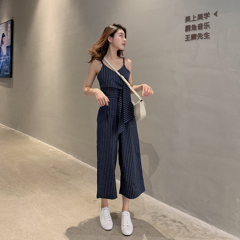 Sexy Jumpsuits For Women Dark Blue Striped Strapless Pants Ladies Fashion Clothing 2019 New Style Bandage Elegant Rompers 6