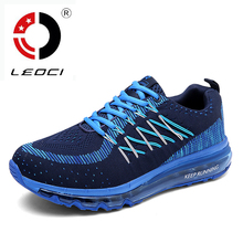 LEOCI Full Air Sole Running Shoes For Men Women Knitting Breathable Sneakers Sport Shoes Trainers Athletic Shoes Size 35-44