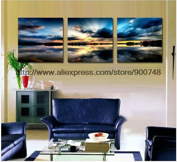 Free Shipping 3 Panels Living Room Decorative Canvas Oil Painting Modern Paint Art Beach Rolls Large Wall Picture