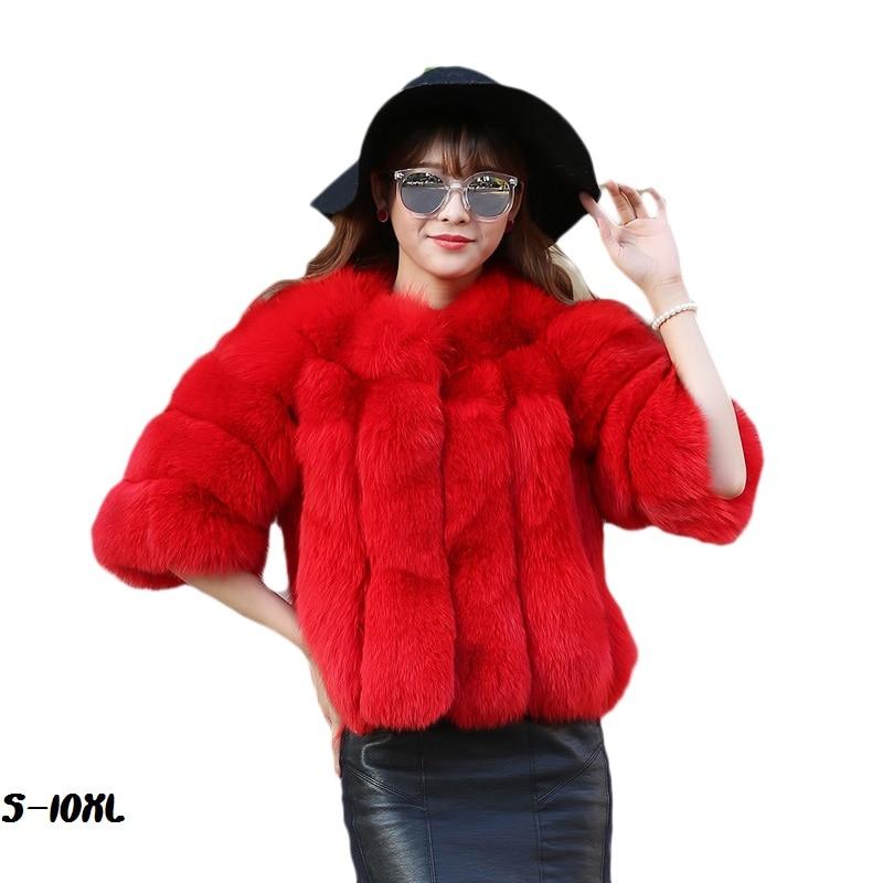 2018 Long mink fur coat sale female coat hooded fox long black plus size artificial fur coat faux coat S-10XL clothing length