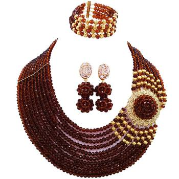 Handmade Brown African Women Crystal Beads Necklace Earrings Sets for Engagement 10C-DPH-04
