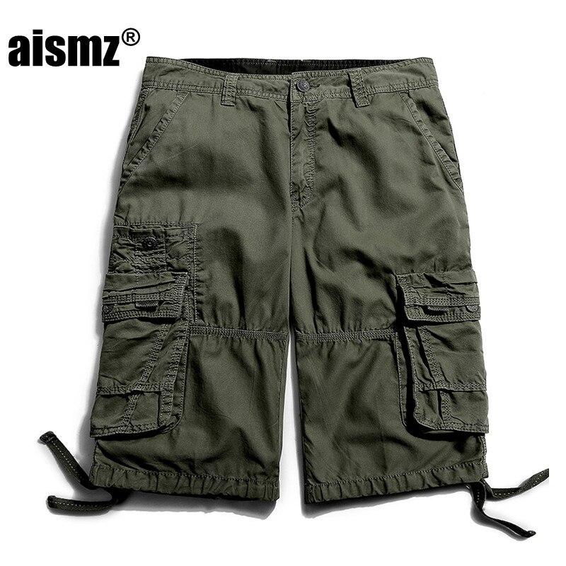 Aismz Military Men Shorts Army Green Male Short Tactical Casual Short Brand Clothing Plus Size 29-40 Cargo Short Khaki 3288