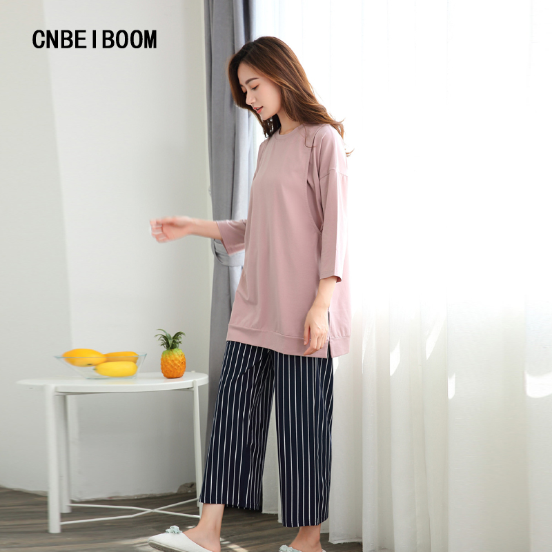 Maternity Clothing Sets Pink T Shirt + Strip Pant 2 Pcs