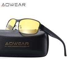 AOWEAR, очки для ночного водителя, очки ночного видения, поляризационные солнцезащитные очки, мужские очки для вождения, желтые очки для ночного видения, Oculos De Sol