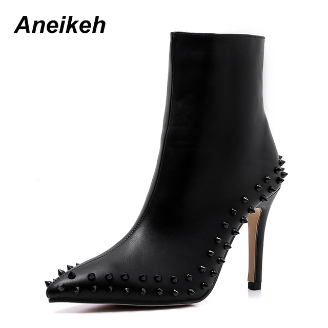 94d1ea69fd4c Aneikeh PU Leather Rivets Stiletto Ankle Boots Pointed Toe Sexy Woman High  Heels Short Boots Top Quality Women Studs Pumps Shoes