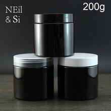 שחור 200 גרם שמנת בקבוק פלסטיק ריק קוסמטי צנצנת קרם גוף מיכל אחסון מסיכת פנים ידנית בלתי נראה למילוי חוזר