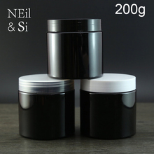 Black 200g Plastic Cream Bottle Empty Cosmetic Body Lotion Container Refillable Invisible Manual Facial Mask Storage Jar