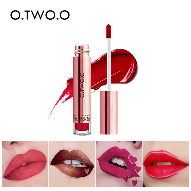 O.TWO.O Velvet Matte Liquid Lipstick Long Lasting Lipstick Waterproof Professional Lip Makeup Lip Gross Lip Tint Pigment