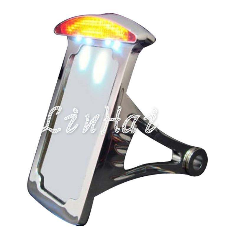 1X Chrome LED Licht Seitenmontage Kennzeichen Fit Für Harley ...