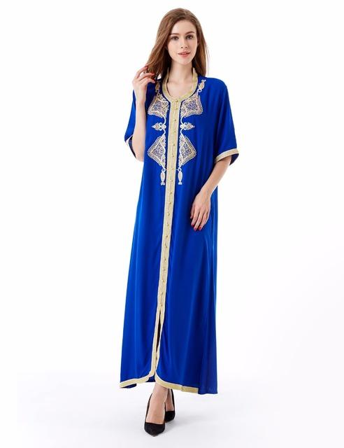 De las mujeres Maxi Vestido Largo de manga larga Kaftan marroquí Caftán Jilbab abaya Islámico Musulmán Turco Árabe árabe Robes vestido HM-1449