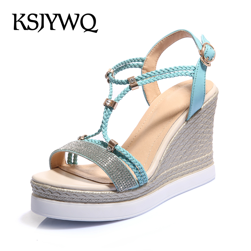 KSJYWQ Women Platform Sandals Sexy Ladies Open-toe Wedges 9.5 cm High Heels Summer Style Slingback Shoes Woman Box Packing W-824  enmayla flowers wedges heels platform sandals women open toe high heels shoes woman solid color ladies sandals female shoes