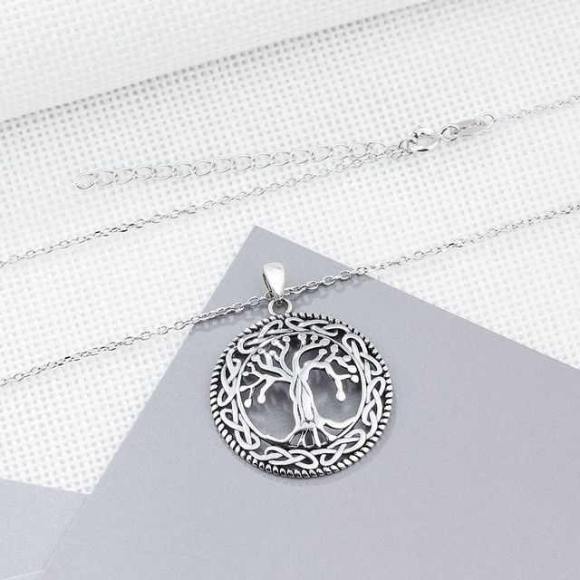 925 Sterling Silver Tree of Life Pendants Necklace For Women 26mm Pendants Silver Jewelry Gift For Mom(NE101908)