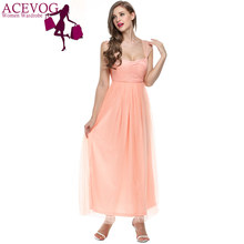 ACEVOG 2017 Women Long Dress Spaghetti Strap Sleeveless Lace Sweetheart  Bridesmaid Party Dress Gown With Mesh 563ead261746