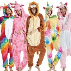 يونيكورن غرزة الزرافة للجنسين الفانيلا منامة الكبار عيد الميلاد الكرتون الحيوان ملابس خاصة للنساء الرجال