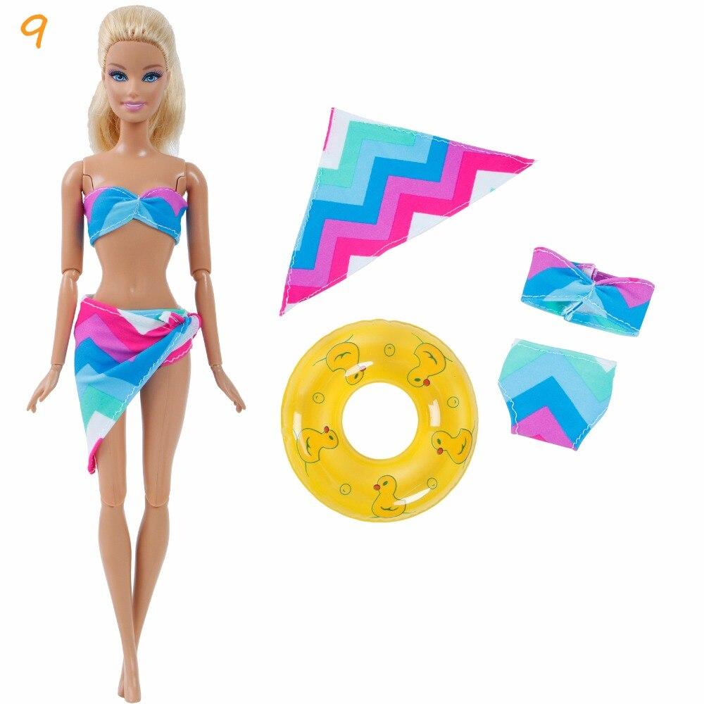 1F3E-泳衣3件套-白玫紫蓝绿几何纹