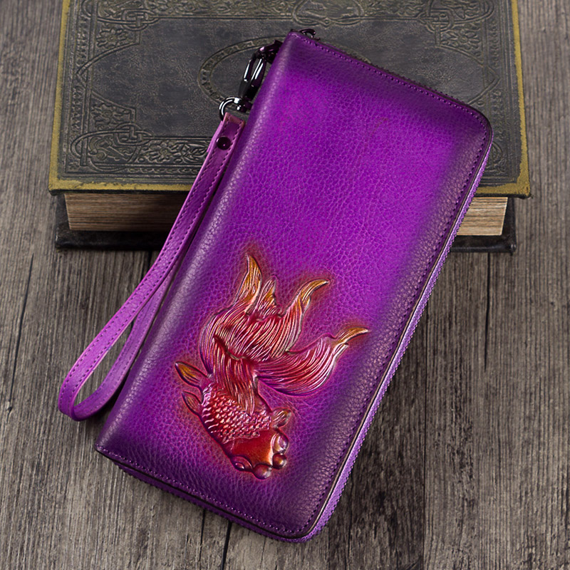 2018 Fashion Women Genuine Leather Bag Cowhide Vintage Goldfish Wallet Card Money Holder Clutch Purse Long Wallets contact s genuine crazy horse cowhide leather men wallets fashion purse with card holder vintage long wallet clutch wrist bag