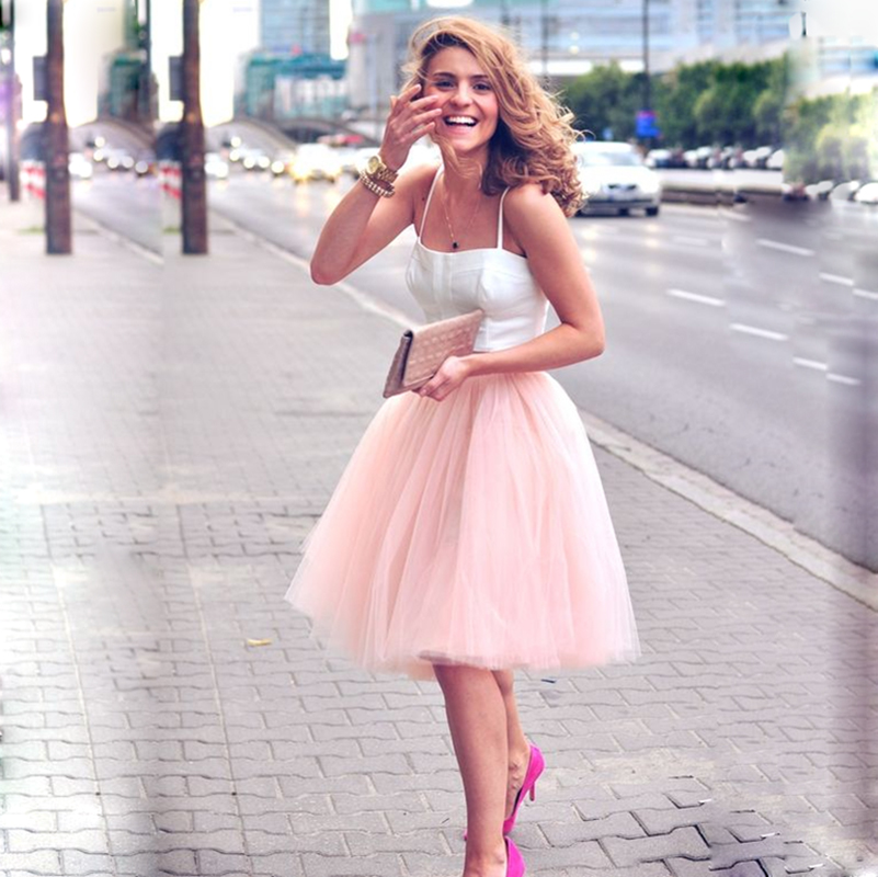 5 Layers 60cm Midi Tulle Skirt Princess  Womens  Tutu Fashion Clothing Faldas Saia Femininas Jupe Summer Style