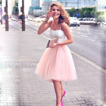 57178c1122 5 capas 60 cm Midi falda de tul princesa mujeres adultos Tutu ropa de moda  Faldas Saia Femininas Jupe estilo de verano