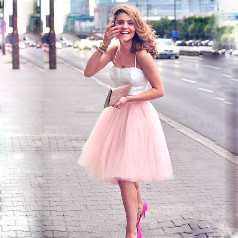 5 schichten 60 cm Midi Tüll Rock Prinzessin Frauen Adult Tutu Mode Kleidung Faldas Saia Femininas Jupe Sommer Stil