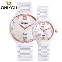ONLYOU новый бренд 2017 керамические часы алмазные часы женские 50 м водонепроницаемые мужские кварцевые наручные часы для влюбленных часы relogio