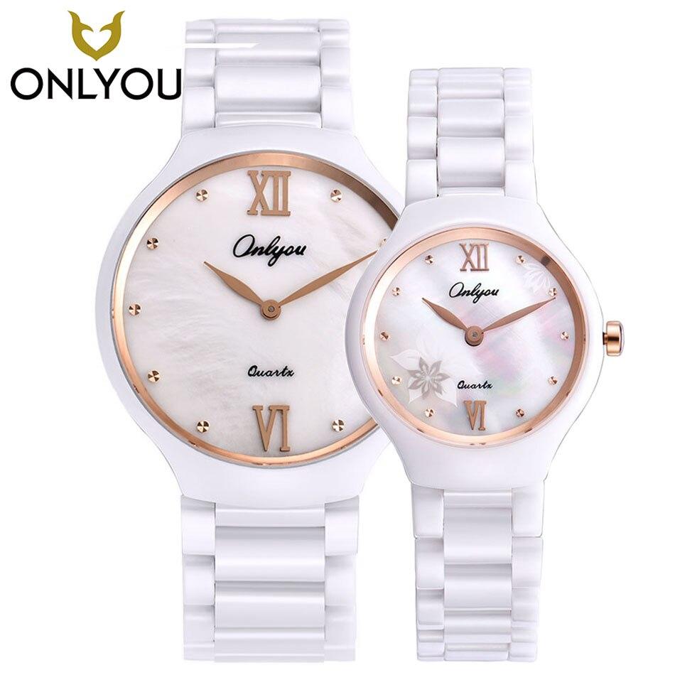 ONLYOU New Brand 2017 Ceramic Watch Diamond Watches Women 50m Waterproof Men Quartz Wristwatches Lovers watches relogio feminino