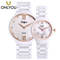 ONLYOU New Brand 2017 Ceramic Watch Diamond Watches Women 50m Waterproof Men Quartz Wristwatches Lovers watches relogio feminino