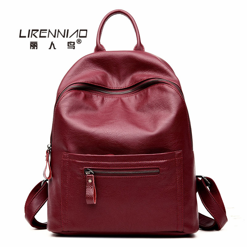 LIRENNIAO 2017 sac a dos femme en cuir Leather designer Backpack Women School backpack For Teenager