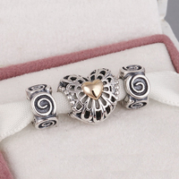 Fits Pandora Charms Bracelet And Necklace 925 Sterling Silver Charm Sets Sparkling Heart Beads Women DIY