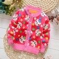 BibiCola Младенческой теплый свитер младенца мальчики девочки весна осень повседневная свитер малышей мультфильм кардиган плюс толстый бархат свитер