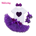 2016 New YK&Loving Baby Clothing Sets Girls Short Sleeve Jumpsuit+Purple Tutu Skirts+Hairband+Shoes Birthday Baby Girl Clothes
