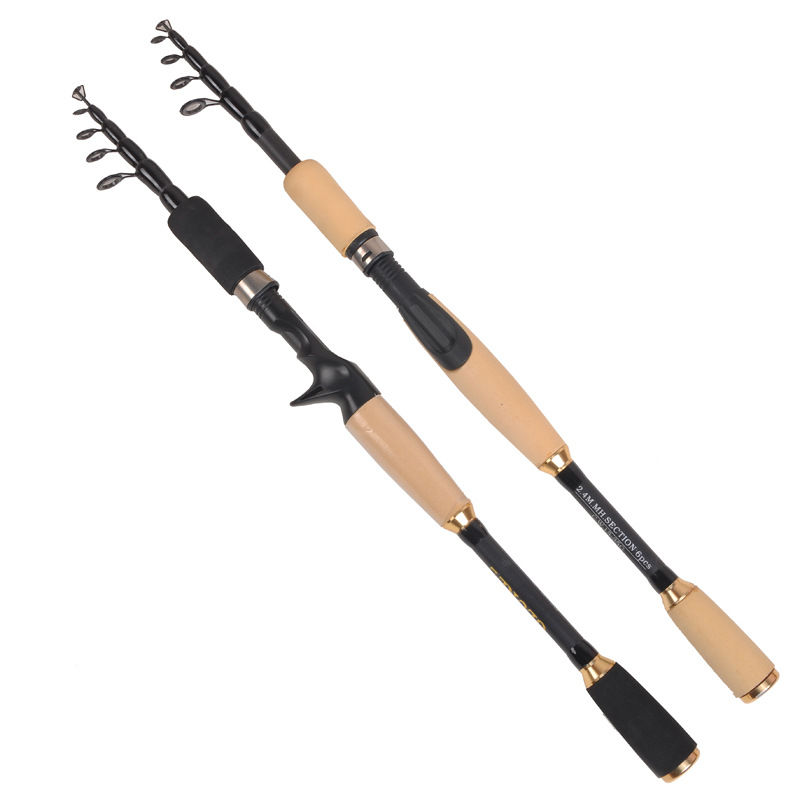 portable telescopic spinning fishing rod 1.8m 2.7m ultralight carbon bait casting rod hard short baitcast lure stick pesca pole-in Fishing Rods from Sports & Entertainment