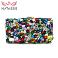 NATASSIE Women Evening Bags Ladies Fashion Crystal Glass Clutches Female Colourful Clutch Bag