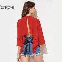 COLROVIE Split Back Elegant Blouse Kimono Sleeve Red Cute Tops 2017 Women Hanky Hem Summer Tops
