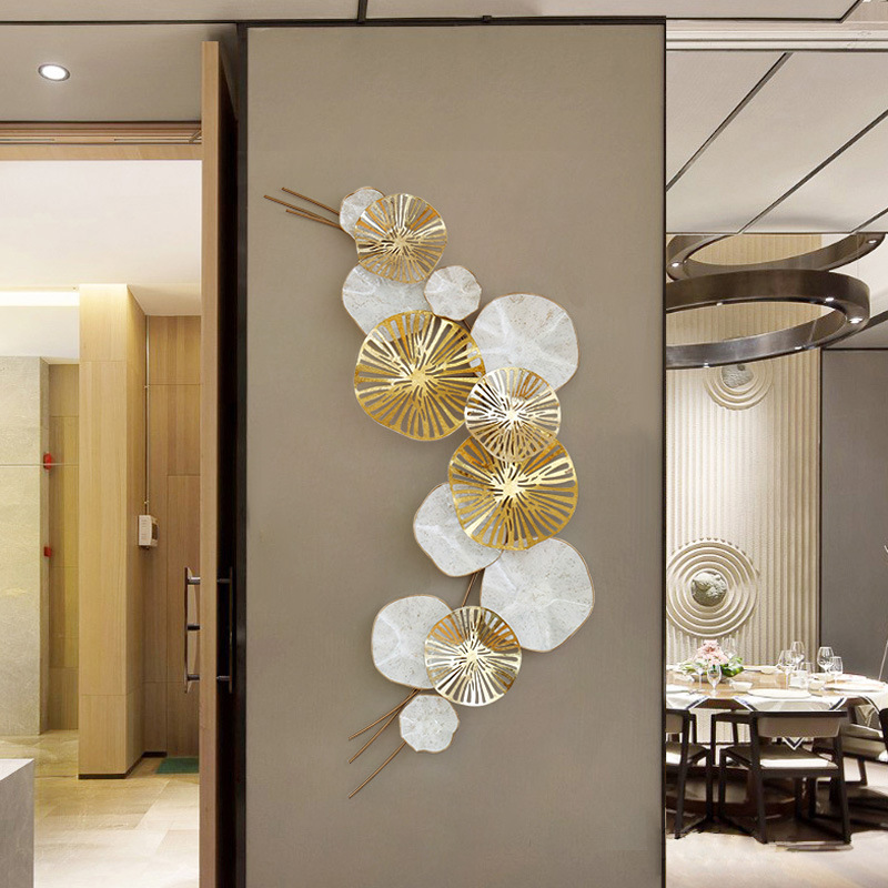 Home Crafts Art Ornament Modern Wrought Iron Lotus Leaf 3D Stereo Wall Decorative Livingroom Luxury Wall Hanging Mural R1255Home Crafts Art Ornament Modern Wrought Iron Lotus Leaf 3D Stereo Wall Decorative Livingroom Luxury Wall Hanging Mural R1255