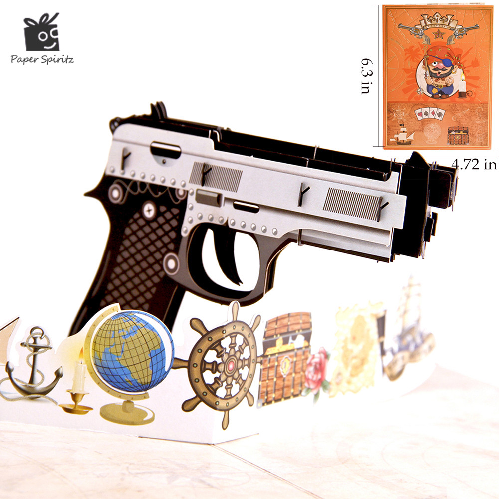 3D Pop up Birthday Gift Cards Greeting Cards Postcards Wedding Invitations Blank Cards Vintage Colourful Gun Thank You 10pcs
