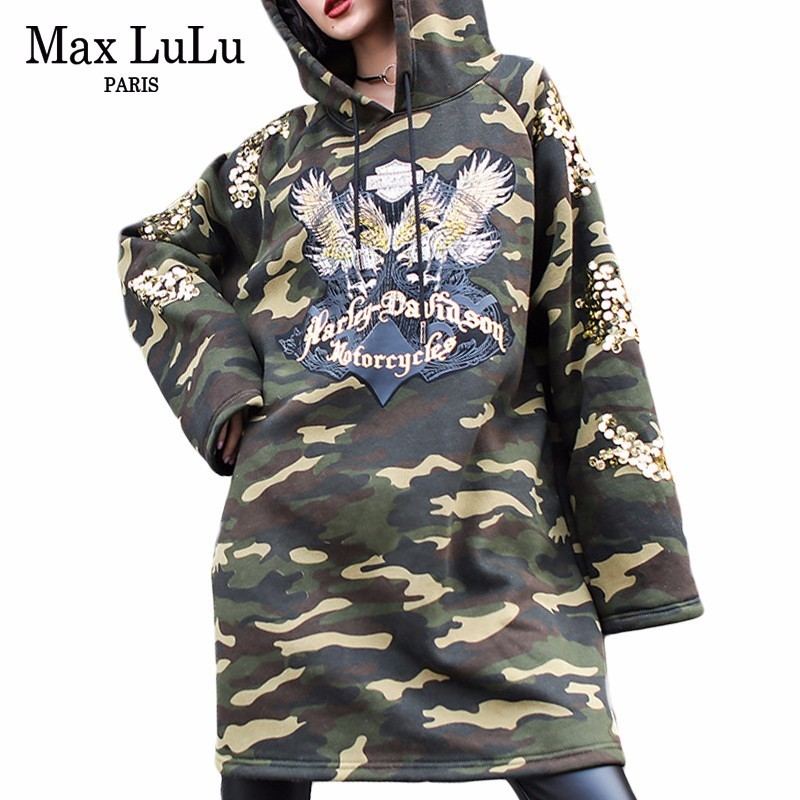Max LuLu mode marque coréenne dames Camouflage Streetwear femmes Bts paillettes longues à capuche Moletom femme hiver sweat