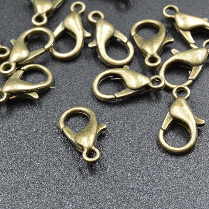 FLTMRH 20 cái 12 mét Bán Buôn đồ trang sức phát hiện tôm hùm clasp bạc đồng/vàng/rose gold/gun đen /rhodium Tôm Hùm clasp