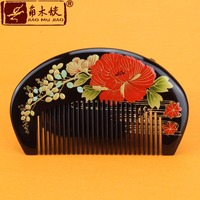 TOP END Authentic Natural Boxwood comb high quality hand painted art fine tooth pocket comb bag comb ACH 217