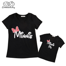 Emmababy Family Matching T Shirts Clothes Mother Daughter Cotton Tops Mouse Shirt Short Sleeve Women