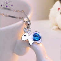 2016 New Genuine 925 Sterling Silver Cute Little Rabbit Ocean Blue Heart Crystal Pendants Necklaces For