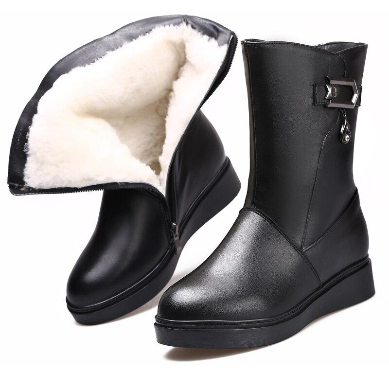 Cuero Reales Negro Zxryxgs Marca Nieve De Zapatos En Mujeres Lana Tubo Planas Antideslizantes 2018 Invierno Caliente Confort Botas Las Oqr6qU