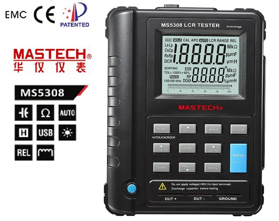 LCR Tester Handheld Autorange rofessional Auto Range Digital LCR Meter Inductance Capacitance Resistance Tester Mastech MS5308 ut612 digital lcr meter with inductance capacitance resistance frequency tester