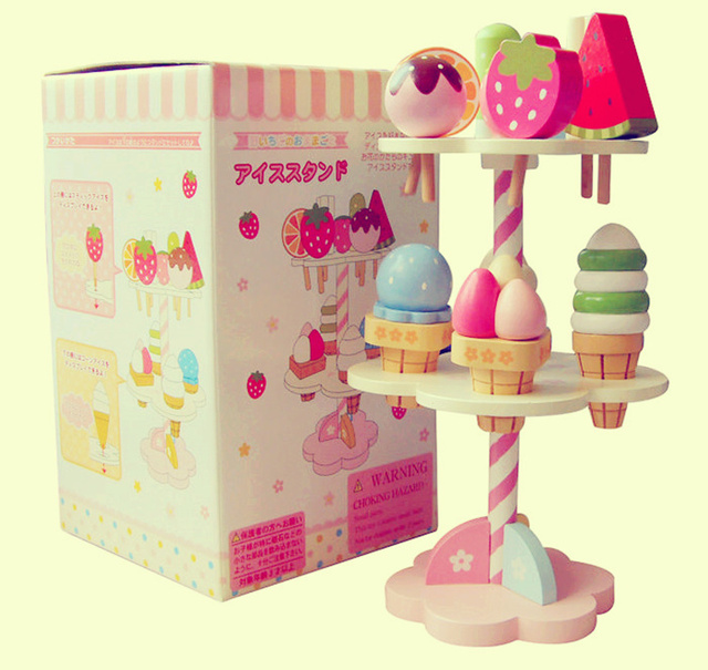 [ Funny ] Wooden Mother Garden Strawberry three layer cake Ice cream stand blocks Pretend Play House kitchen toy Cooking gift