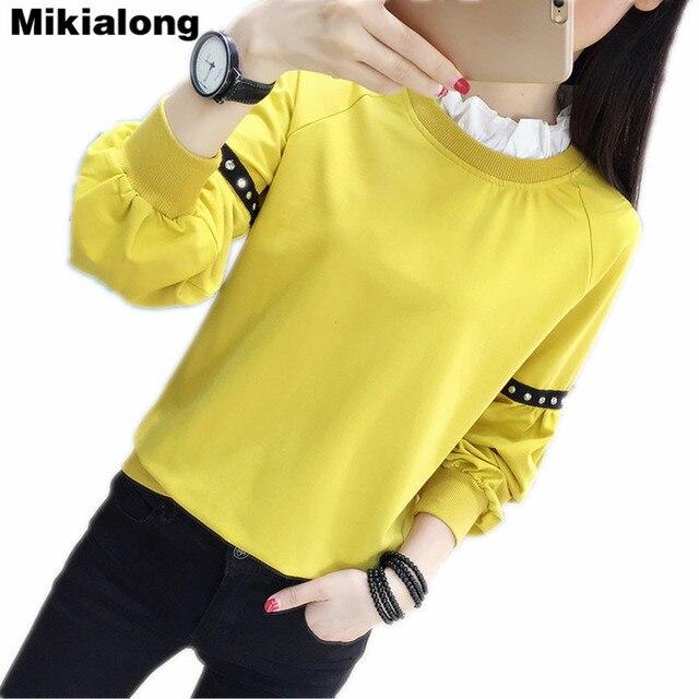 Aliexpress.com : Buy Mikialong Yellow Green Ruffled Cute Hoodies ...