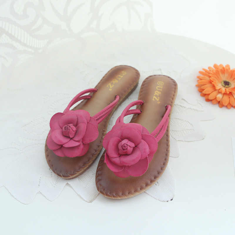 d6589df48b7efa ... New Slippers soft insole Camellia Sandals Slip On Flats Casual Shoes  Woman Beach Flip Flops Flowers ...