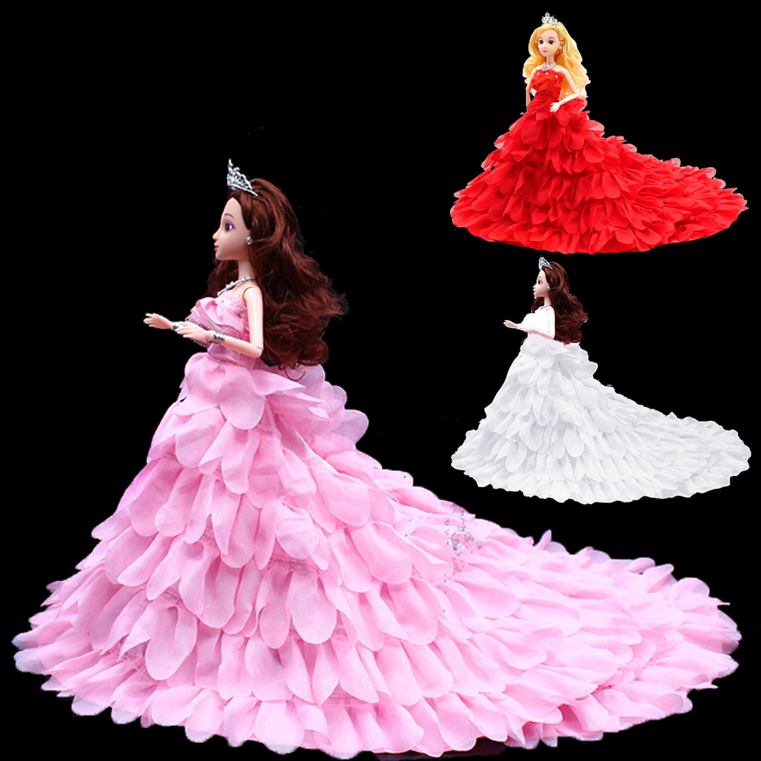 Petal Style Girl Dolls Toys Wedding Party Dresses Gown Outfits Doll Accessories for Barbie Toys Girls Birthday Gift