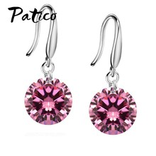 Promotions!! Good Quality 925 Sterling Silver 10MM Shining Crystal Woman Girl Candy Hook Dangle Earrings Gifts Colors(China)